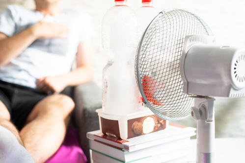 Using ice with your room fan