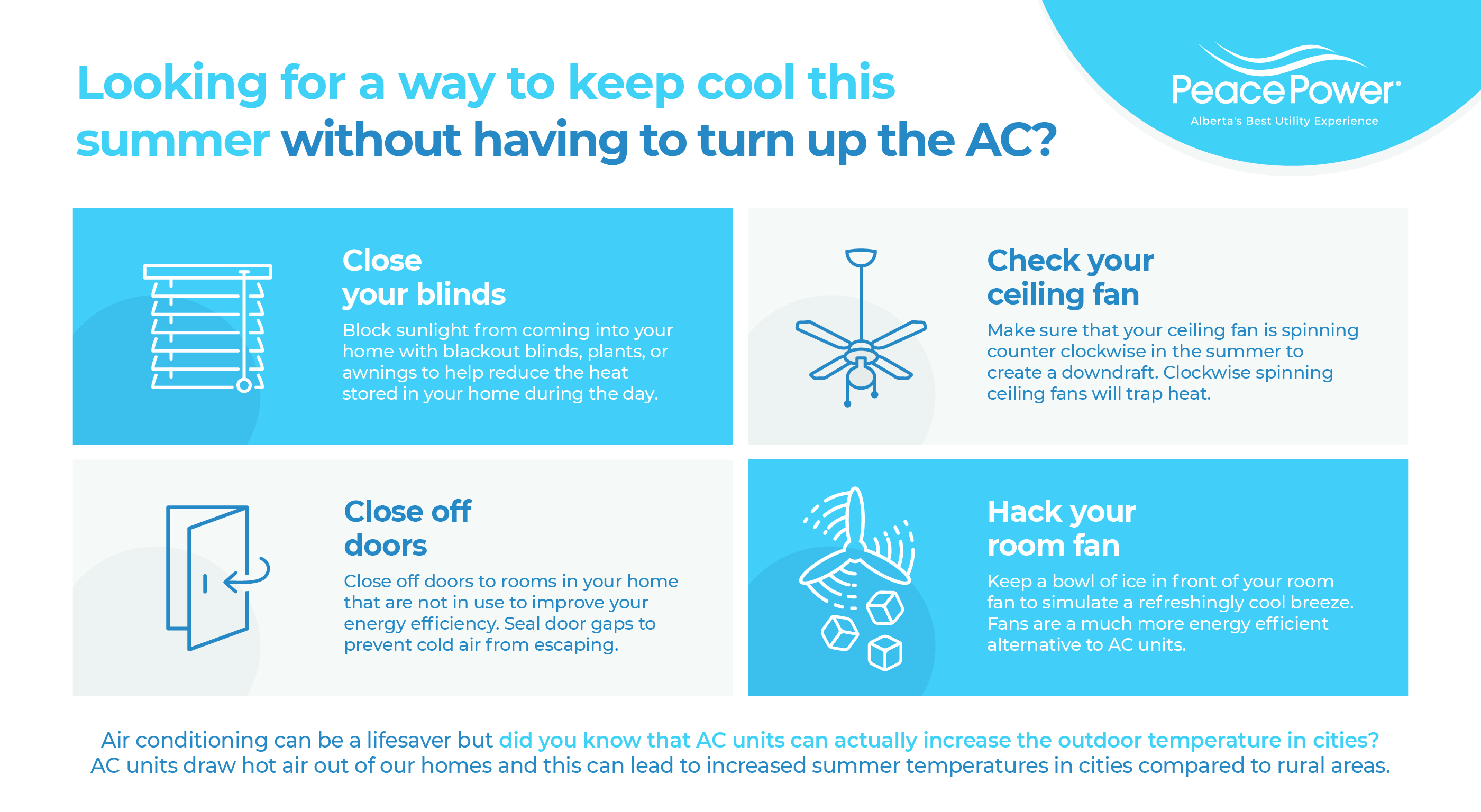 Home Energy Efficiency Infographic on How To Keep Your House Cool in a Heatwave